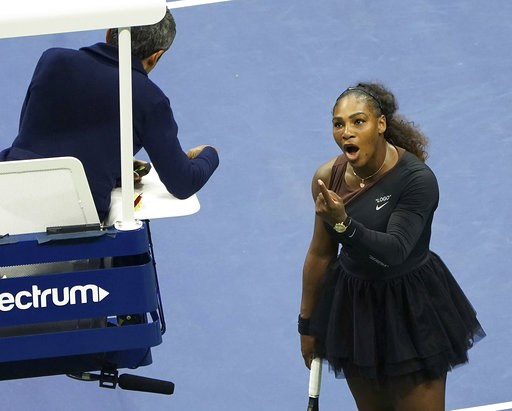 (Photo by Greg Allen/Invision/AP, File). FILE - In this Saturday, Sept. 8, 2018, file photo, Serena Williams argues with the chair umpire during a match against Naomi Osaka, of Japan, during the women's finals of the U.S. Open tennis tournament at the ...