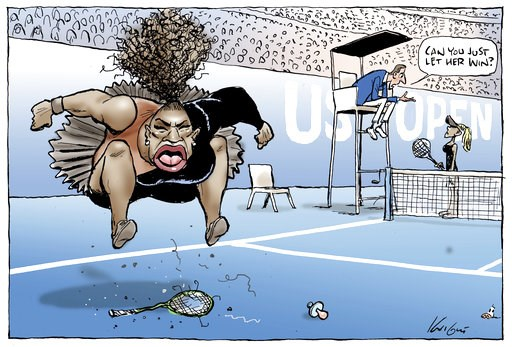 (Mark Knight/Heral Sun-News Corp. via AP). This Mark Knight's cartoon published by the Herald Sun depicts Serena Williams as an irate, hulking, big-mouthed black woman jumping up and down on a broken racket. The umpire was shown telling a blond, slende...