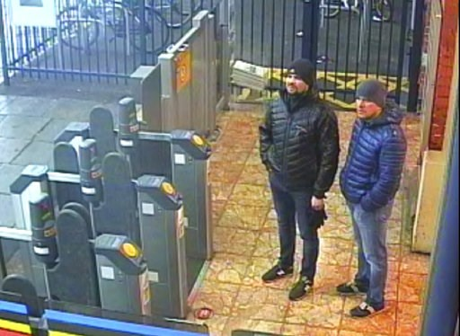(Metropolitan Police via AP). This still taken from CCTV and issued by the Metropolitan Police in London on Wednesday Sept. 5, 2018, shows Ruslan Boshirov and Alexander Petrov at Salisbury train station on March 3, 2018. British prosecutors have charge...