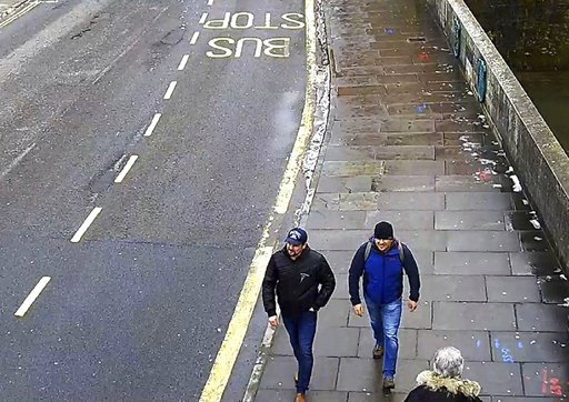 (Metropolitan Police via AP, File). FILE In this file grab taken from CCTV and issued by the Metropolitan Police in London on Wednesday Sept. 5, 2018, Ruslan Boshirov and Alexander Petrov walk on Fisherton Road, Salisbury, England on March 4, 2018. Pre...
