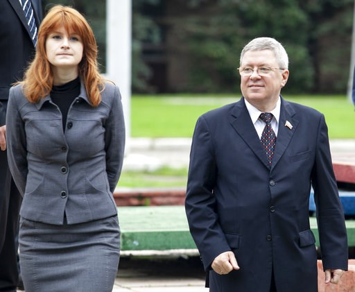 (AP Photo/Pavel Ptitsin). In this photo taken on Friday, Sept. 7, 2012, Maria Butina walks with Alexander Torshin then a member of the Russian upper house of parliament in Moscow, Russia. When gun activist Maria Butina arrived in Washington in 2014 to ...