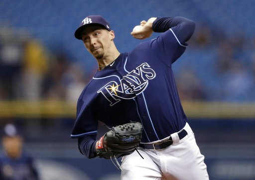 (AP Photo/Chris O'Meara). Tampa Bay Rays' Blake Snell pitches to the Cleveland Indians during the first inning of a baseball game Wednesday, Sept. 12, 2018, in St. Petersburg, Fla.
