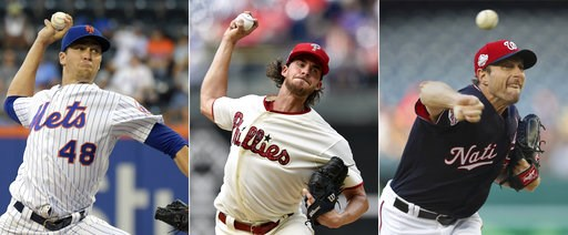 (AP Photo/File). FILE - From left are 2018 file photos showing New York Mets pitcher Jacob deGrom,  Philadelphia Phillies pitcher Aaron Nola and Washington Nationals pitcher Max Scherzer. Jacob deGrom, Max Scherzer and Aaron Nola are going pitch for pi...
