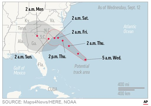 UPDATED WED 5 A.M.  Map shows probable path of Hurricane Florence. ; 1c x 2 1/2 inches; 46.5 mm x 63 mm;