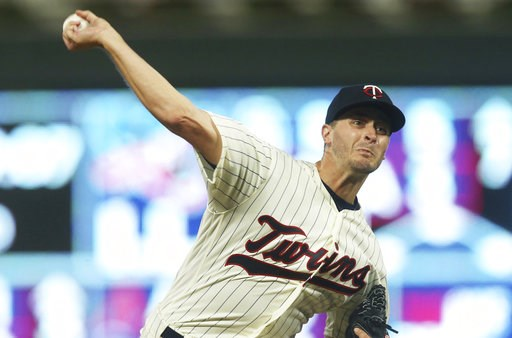 (AP Photo/Jim Mone). Minnesota Twins pitcher Jake Odorizzi throws against the New York Yankees in the third inning of a baseball game Wednesday, Sept. 12, 2018, in Minneapolis.