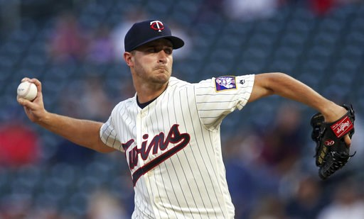 (AP Photo/Jim Mone). Minnesota Twins pitcher Jake Odorizzi throws against the New York Yankees in the first inning of a baseball game Wednesday, Sept. 12, 2018, in Minneapolis.