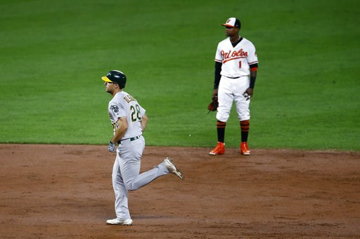 (AP Photo/Patrick Semansky). Oakland Athletics' Matt Olson, left, rounds the bases past Baltimore Orioles shortstop Tim Beckham after hitting a three-run home run in the third inning of a baseball game, Wednesday, Sept. 12, 2018, in Baltimore.