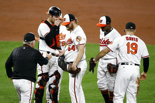 (AP Photo/Patrick Semansky). Baltimore Orioles starting pitcher Andrew Cashner, center, is relieved by manager Buck Showalter in the third inning of a baseball game against the Oakland Athletics, Wednesday, Sept. 12, 2018, in Baltimore. Oakland scored ...