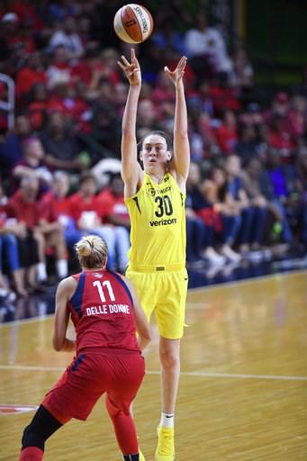 (AP Photo/Nick Wass). Seattle Storm forward Breanna Stewart (30) shoots against Washington Mystics forward Elena Delle Donne (11) during the first half of Game 3 of the WNBA basketball finals, Wednesday, Sept. 12, 2018, in Fairfax, Va.