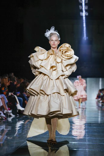 (AP Photo/Kevin Hagen). The Marc Jacobs spring 2019 collection is modeled during Fashion Week Wednesday, Sept. 12, 2018, in New York.