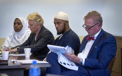 (Eddie Moore/The Albuquerque Journal via AP, Pool, File). FILE - In this Aug. 29, 2018, file photo, Jany Leveille, from left, with her attorney Kelly Golightley, and Siraj Ibn Wahhaj with attorney Tom Clark listen to the prosecutor during a hearing on ...