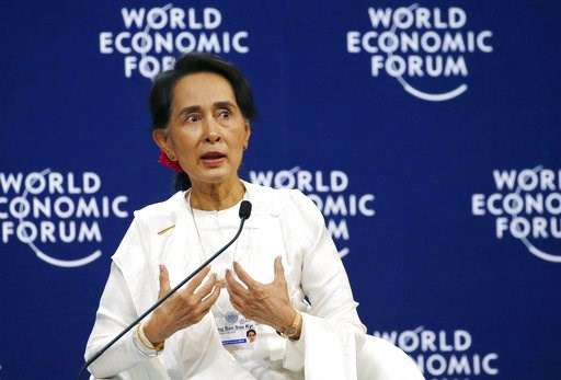 (AP Photo/Bullit Marquez). Aung San Suu Kyi, the State Counsellor of Myanmar, gestures during a one-on-one discussion with Berge Brende at the World Economic Forum's meeting at the National Convention Center Thursday, Sept. 13, 2018 in Hanoi, Vietnam. ...