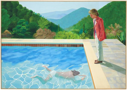 """(Christie's Images Ltd. 2018 via AP). This undated photo provided by Christie's Images Ltd. 2018, shows a painting by David Hockney entitled """"Portrait of an Artist (Pool with Two Figures)."""" Christie's expects the painting to set a new record for a work..."""