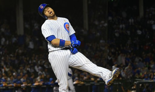 (AP Photo/Matt Marton). Chicago Cubs' Victor Caratini (7) reacts after he lines out against the Milwaukee Brewers in the ninth inning of a baseball game on Wednesday, Sept. 12, 2018, in Chicago.