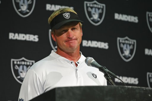 (AP Photo/Ben Margot). Oakland Raiders head coach Jon Gruden answers questions during a news conference after an NFL football game against the Los Angeles Rams in Oakland, Calif., Monday, Sept. 10, 2018. Los Angeles won the game 33-13.