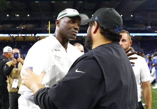 (AP Photo/Rick Osentoski). New York Jets head coach Todd Bowles, left, and Detroit Lions head coach Matt Patricia talk after an NFL football game in Detroit, Monday, Sept. 10, 2018. The Jets won 48-17.