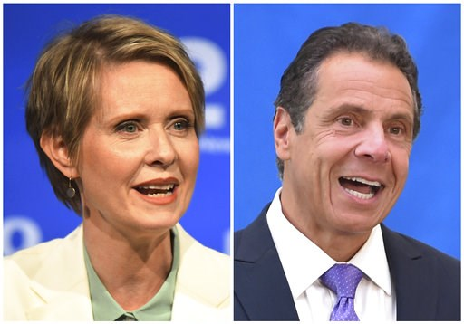 (J. Conrad Williams Jr./Newsday Pool, and Evan Agostini/Invision, File). FILE - In this combination of file photos, New York gubernatorial candidate Cynthia Nixon, left, speaks during a Democratic primary debate in Hempstead, N.Y., on Aug. 29, 2018, an...