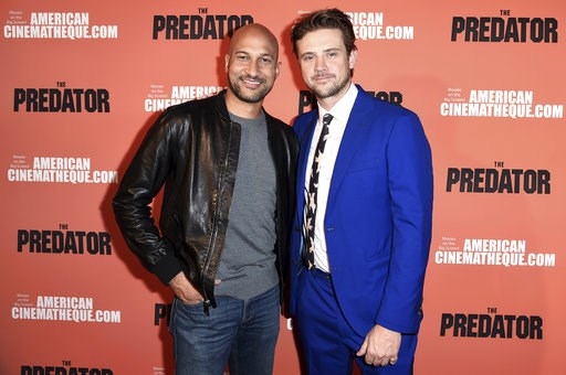 """(Photo by Richard Shotwell/Invision/AP). Keegan-Michael Key, left, and Boyd Holbrook attend a special screening of """"The Predator"""" at Grauman's Egyptian Theatre on Wednesday, Sept. 12, 2018, in Los Angeles."""