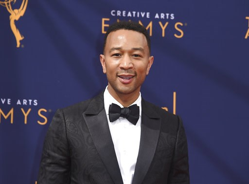 """(Photo by Richard Shotwell/Invision/AP, File). FILE - In this Sept. 9, 2018 file photo, John Legend arrives at the Creative Arts Emmy Awards in Los Angeles. Legend will become a coach on NBC's """"The Voice."""""""