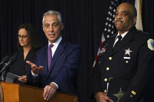 (Antonio Perez /Chicago Tribune via AP). Chicago mayor Rahm Emanuel flanked by Chicago police Superintendent Eddie Johnson and Attorney General Lisa Madigan, announce that they have filed a proposed consent decree in federal court to reform the Chicago...