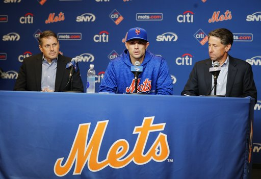 (AP Photo/Frank Franklin II). New York Mets assistant general manager John Ricco, left, and owner Jeff Wilpon, right, listen as third baseman David Wright speaks during a news conference before a baseball game against the Miami Marlins, Thursday, Sept....