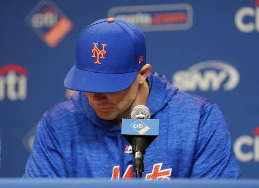 (AP Photo/Frank Franklin II). New York Mets third baseman David Wright pauses while speaking during a news conference before a baseball game against the Miami Marlins, Thursday, Sept. 13, 2018, in New York.