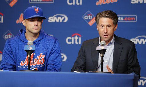 (AP Photo/Frank Franklin II). New York Mets owner Jeff Wilpon, right, speaks as third baseman David Wright listens during a news conference before a baseball game against the Miami Marlins Thursday, Sept. 13, 2018, in New York.