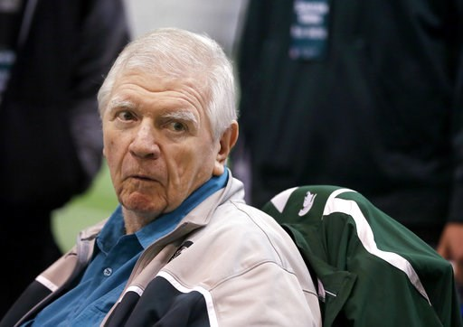 (AP Photo/Carlos Osorio, File). FILE - In this March 16, 2016, file photo, former Michigan State head football coach George Perles watches a Pro Day college football workout at Michigan State in East Lansing. Perles was named in a lawsuit filed Monday,...