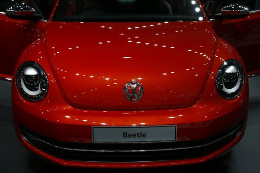 (AP Photo/Tsering Topgyal, File). FILE- In this Feb. 3, 2016, photo the Volkswagen Beetle is displayed at the Auto Expo in Greater Noida, near New Delhi, India. Volkswagen says it will stop making its iconic Beetle in July of next year. Volkswagen of A...