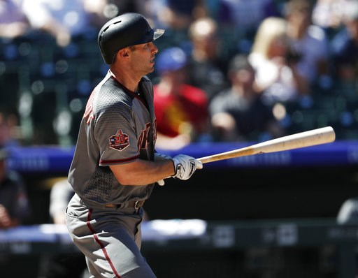 (AP Photo/David Zalubowski). Arizona Diamondbacks' Paul Goldschmidt grounds out against Colorado Rockies starting pitcher Kyle Freeland in the first inning of a baseball game Thursday, Sept. 13, 2018, in Denver.
