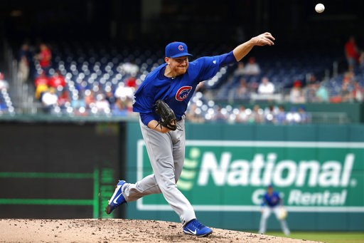 (AP Photo/Jacquelyn Martin). Chicago Cubs pitcher Mike Montgomery delivers in the third inning of a baseball game against the Washington Nationals, Thursday, Sept. 13, 2018, in Washington.