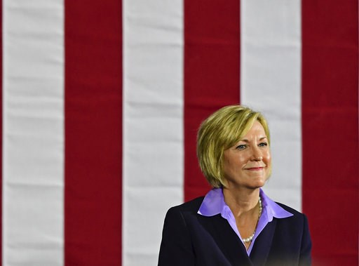 (AP Photo/David Dermer). Democratic gubernatorial candidate Richard Cordray's running mate Betty Sutton speaks at a campaign rally, Thursday, Sept. 13, 2018, in Cleveland. Former President Barack Obama was in closely divided Ohio to campaign for Democr...