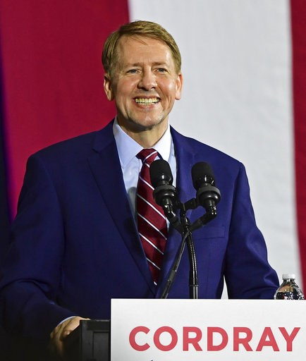 (AP Photo/David Dermer). Democratic gubernatorial candidate Richard Cordray speaks at a campaign rally, Thursday, Sept. 13, 2018, in Cleveland.