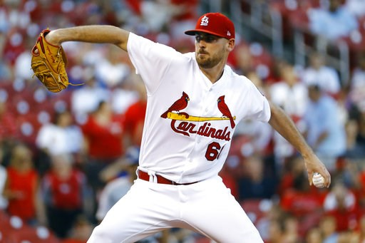 (AP Photo/Billy Hurst). St. Louis Cardinals starting pitcher Austin Gomber throws during the first inning of a baseball game against the Los Angeles Dodgers, Thursday, Sept. 13, 2018, in St. Louis.