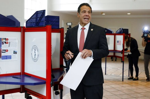 (AP Photo/Richard Drew). New York Gov. Andrew Cuomo speaks as he marks his primary election ballot at the Presbyterian Church of Mount Kisco, in Mount Kisco, N.Y., Thursday, Sept. 13, 2018.