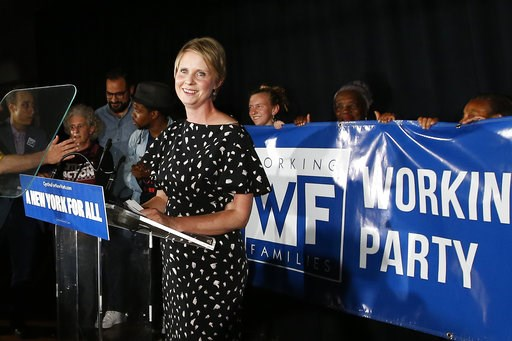 (AP Photo/Jason DeCrow). Gubernatorial candidate Cynthia Nixon delivers her concession speech at the Working Families Party primary night party, Thursday, Sept. 13, 2018, in New York. New York Gov. Andrew Cuomo easily beat Nixon in Thursday's contest t...