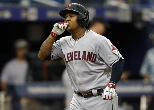 (AP Photo/Chris O'Meara). Cleveland Indians' Jose Ramirez reacts as he runs around the bases after his home run off Tampa Bay Rays starting pitcher Blake Snell during the seventh inning of a baseball game Wednesday, Sept. 12, 2018, in St. Petersburg, F...