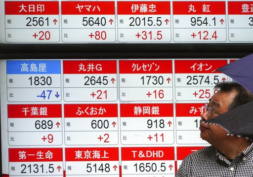 (AP Photo/Eugene Hoshiko). A man looks atan electronic stock board showing Japan's Nikkei 225 index at a securities firm in Tokyo Friday, Sept. 14, 2018. Asian shares were mostly higher Friday, continuing their rally after gains on Wall Street and hope...
