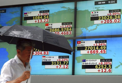 (AP Photo/Eugene Hoshiko). A man walks past an electronic stock board showing Japan's Nikkei 225 index and other contorted indexs at a securities firm in Tokyo Friday, Sept. 14, 2018. Asian shares were mostly higher Friday, continuing their rally after...