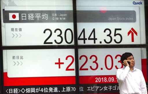 (AP Photo/Eugene Hoshiko). A man stands in front of an electronic stock board showing Japan's Nikkei 225 index at a securities firm in Tokyo Friday, Sept. 14, 2018. Asian shares were mostly higher Friday, continuing their rally after gains on Wall Stre...