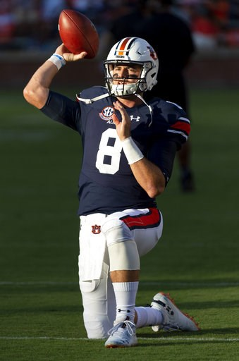 (AP Photo/Vasha Hunt). In this Sept. 8, 2018 photo Auburn quarterback Jarrett Stidham (8) warms up before an NCAA college football game against Alabama State in Auburn, Ala. The stage is set for another thriller for LSU at Auburn. Stidham will be chall...