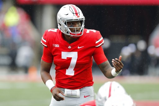 (AP Photo/Jay LaPrete). In this Sept. 8, 2018 photo Ohio State quarterback Dwayne Haskins plays against Rutgers during an NCAA college football game in Columbus, Ohio. Haskins put up huge numbers in lopsided home wins over Oregon State and Rutgers. Now...