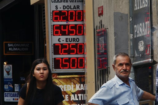 (AP Photo/Lefteris Pitarakis). People stand outside an exchange office in Istiklal Avenue, the main shopping road in Istanbul, Thursday, Sept. 13, 2018. Turkey's central bank on Thursday raised its key interest rate sharply to contain inflation and sup...