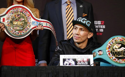 (AP Photo/John Locher). Gennady Golovkin listens during a news conference Wednesday, Sept. 12, 2018, in Las Vegas. Golovkin is scheduled to fight Canelo Alvarez in a title bout Saturday in Las Vegas.