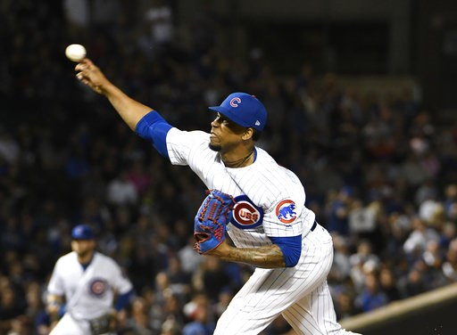(AP Photo/David Banks). Chicago Cubs relief pitcher Pedro Strop (46) throws the ball against the Milwaukee Brewers during the ninth inning of a baseball game, Tuesday, Sept. 11, 2018, in Chicago. The Cubs won 3-0.