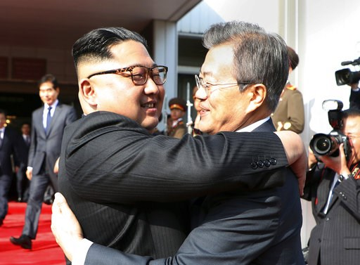 (South Korea Presidential Blue House/Yonhap via AP, File). FILE - In this May 26, 2018, file photo, provided by South Korea Presidential Blue House via Yonhap News Agency, North Korean leader Kim Jong Un, left, and South Korean President Moon Jae-in em...