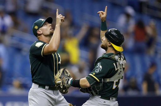 (AP Photo/Chris O'Meara). Oakland Athletics pitcher Blake Treinen, left, celebrates with catcher Jonathan Lucroy after defeating the Tampa Bay Rays 2-1 during a baseball game Friday, Sept. 14, 2018, in St. Petersburg, Fla.