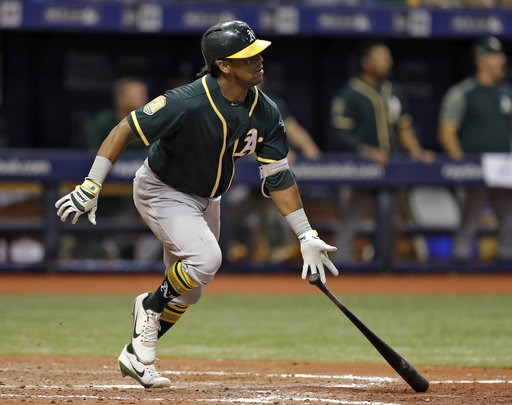 (AP Photo/Chris O'Meara). Oakland Athletics' Khris Davis watches his home run off Tampa Bay Rays pitcher Jaime Schultz during the 10th inning of a baseball game Friday, Sept. 14, 2018, in St. Petersburg, Fla. Oakland defeated Tampa Bay 2-1.