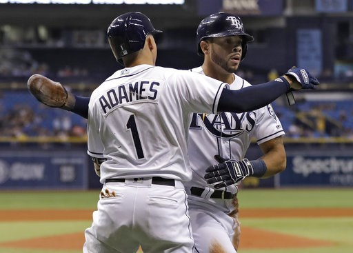 (AP Photo/Chris O'Meara). Tampa Bay Rays' Tommy Pham, right, hugs on-deck batter Willy Adames after scoring on an RBI single by Joey Wendle off Oakland Athletics pitcher Edwin Jackson during the fourth inning of a baseball game Friday, Sept. 14, 2018, ...