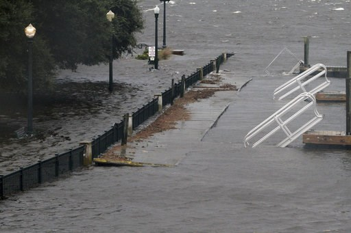 (Gray Whitley/Sun Journal via AP). Union Point Park is flooded with rising water from the Neuse and Trent Rivers in New Bern, N.C. Thursday, Sept. 13, 2018. Hurricane Florence already has inundated coastal streets with ocean water and left tens of thou...